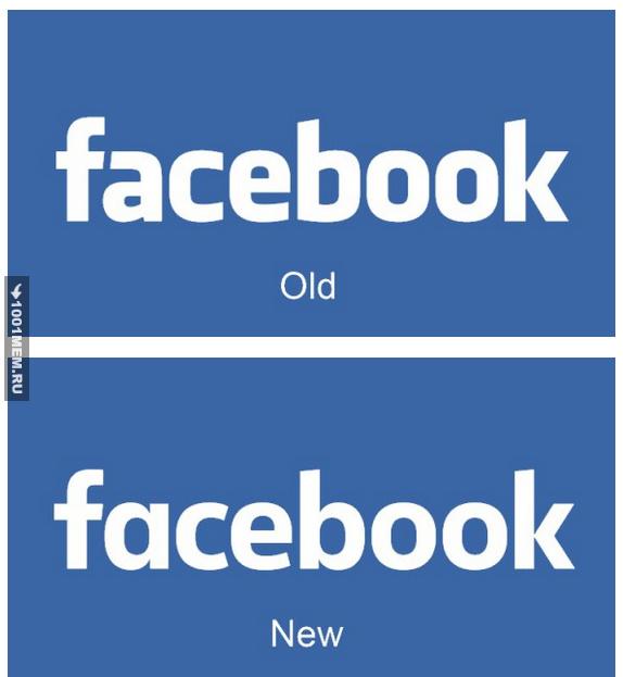 Новый и старый логотип фейсбука